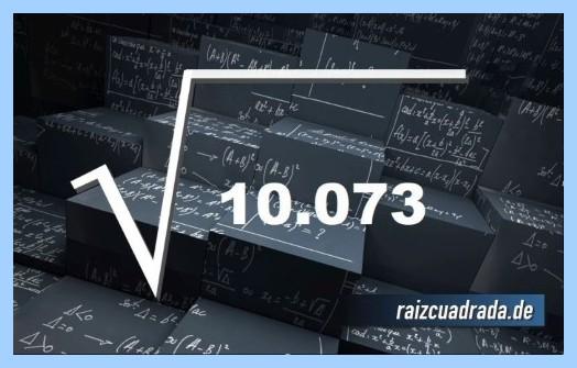 Como se representa comúnmente la operación matemática raíz de 10073