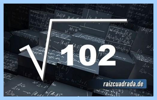 Forma de representar conmúnmente la operación raíz cuadrada del número 102