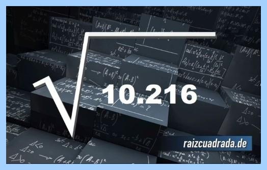 Forma de representar matemáticamente la operación raíz cuadrada de 10216