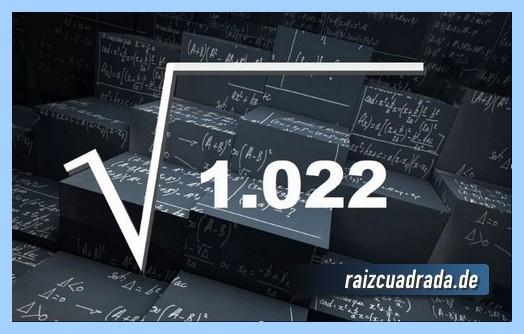 Forma de representar matemáticamente la operación matemática raíz cuadrada de 1022