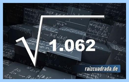 Como se representa frecuentemente la operación matemática raíz cuadrada de 1062