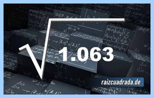 Como se representa matemáticamente la operación matemática raíz del número 1063