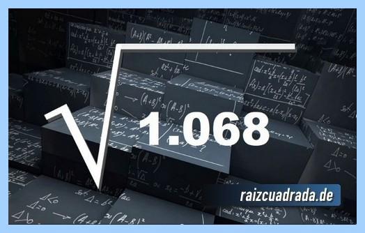 Forma de representar habitualmente la operación matemática raíz cuadrada de 1068