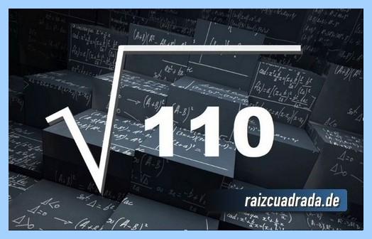 Como se representa matemáticamente la operación raíz cuadrada de 110