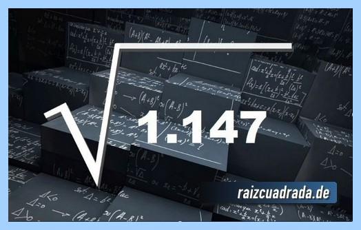 Como se representa matemáticamente la raíz cuadrada del número 1147