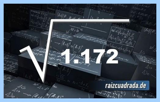 Como se representa comúnmente la operación raíz cuadrada del número 1172