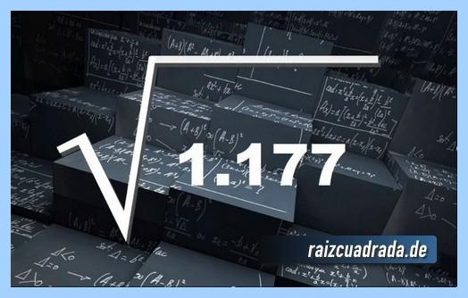 Representación matemáticamente la operación raíz cuadrada del número 1177