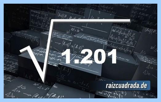 Forma de representar comúnmente la operación matemática raíz cuadrada de 1201