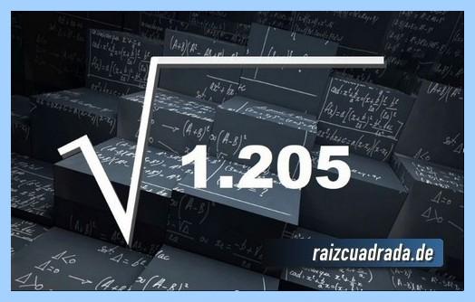 Forma de representar habitualmente la operación matemática raíz de 1205