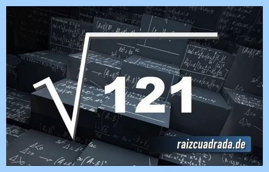 Forma de representar habitualmente la operación raíz del número 121
