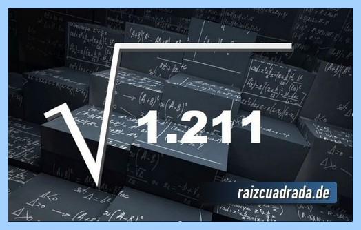 Forma de representar matemáticamente la operación matemática raíz cuadrada del número 1211