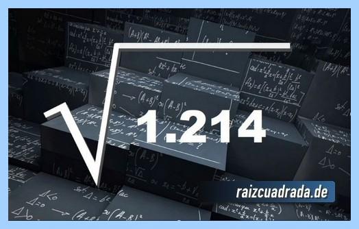 Representación matemáticamente la raíz cuadrada de 1214