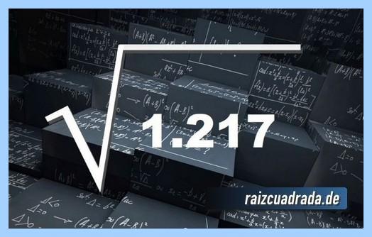 Forma de representar frecuentemente la operación matemática raíz del número 1217