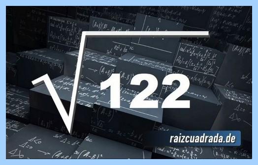 Forma de representar matemáticamente la operación matemática raíz cuadrada del número 122