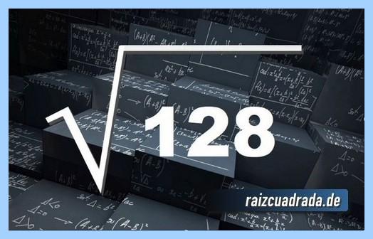 Representación matemáticamente la raíz cuadrada del número 128