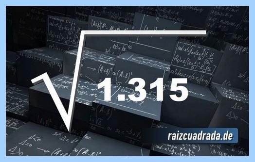 Forma de representar comúnmente la operación matemática raíz cuadrada del número 1315