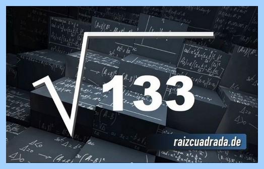 Representación matemáticamente la raíz del número 133