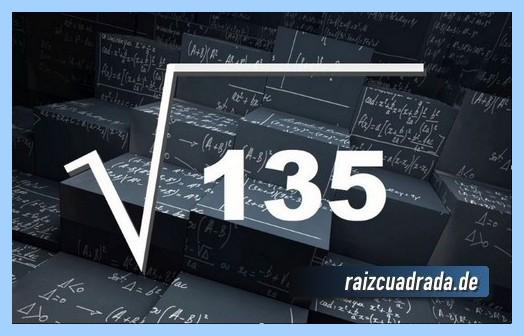 Como se representa frecuentemente la operación matemática raíz del número 135
