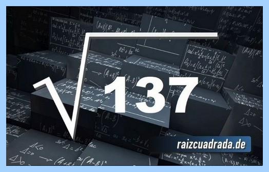 Representación matemáticamente la operación matemática raíz de 137