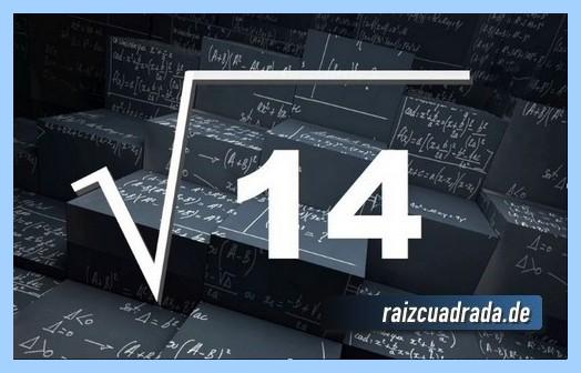 Como se representa frecuentemente la operación matemática raíz de 14