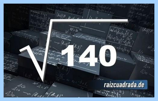 Representación frecuentemente la operación matemática raíz cuadrada de 140