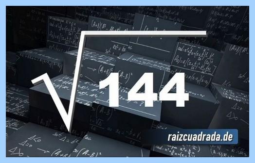 Forma de representar habitualmente la operación matemática raíz cuadrada de 144
