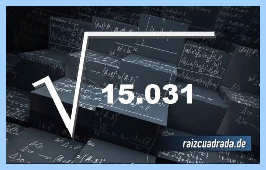 Como se representa frecuentemente la operación matemática raíz del número 15031