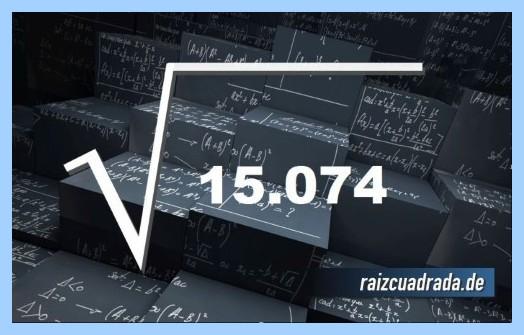 Representación habitualmente la operación matemática raíz cuadrada del número 15074
