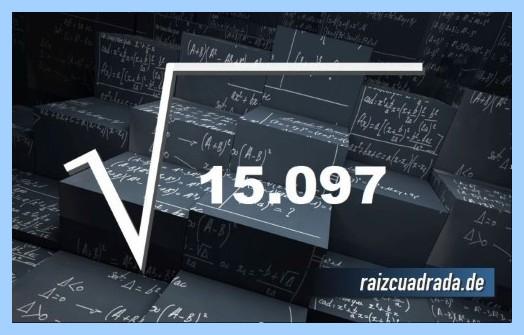 Forma de representar matemáticamente la raíz cuadrada del número 15097