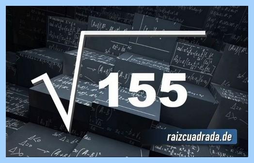 Como se representa frecuentemente la operación raíz cuadrada del número 155