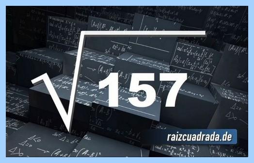 Como se representa frecuentemente la raíz cuadrada del número 157