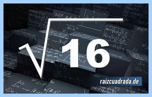 Forma de representar matemáticamente la operación raíz del número 16