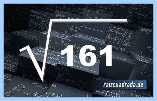 Como se representa matemáticamente la operación matemática raíz cuadrada del número 161