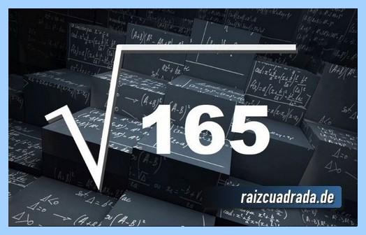 Forma de representar comúnmente la raíz cuadrada de 165