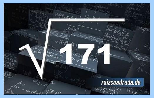 Representación matemáticamente la operación matemática raíz de 171