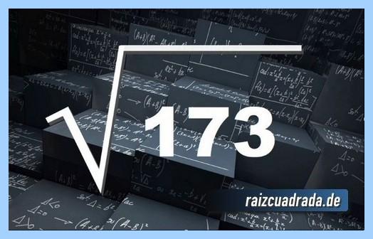Como se representa matemáticamente la operación raíz del número 173