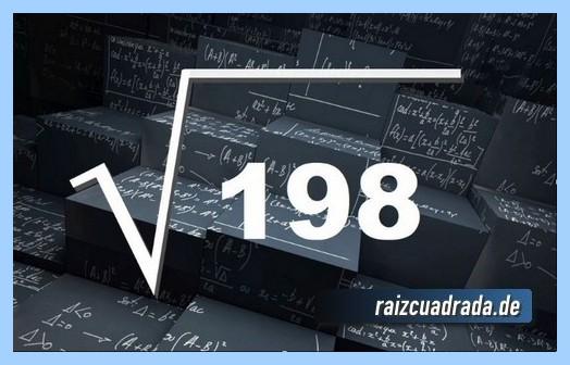 Forma de representar habitualmente la operación matemática raíz cuadrada de 198
