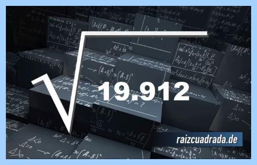 Representación matemáticamente la operación matemática raíz cuadrada del número 19912