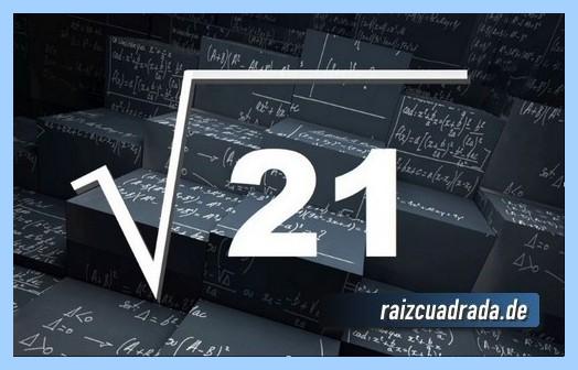 Representación matemáticamente la raíz cuadrada de 21