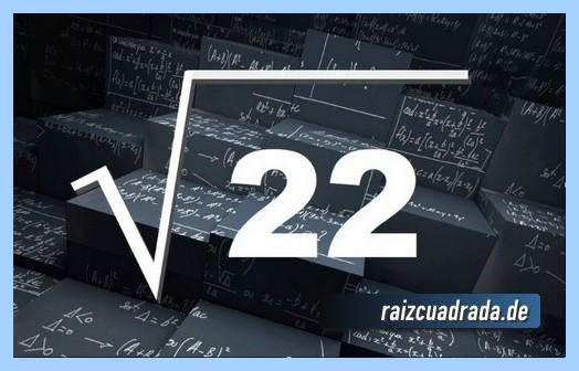 Representación matemáticamente la raíz cuadrada del número 22