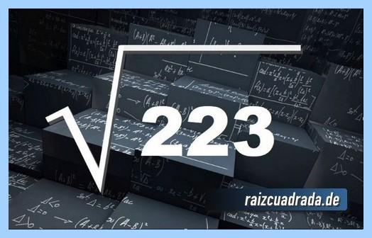 Representación comúnmente la operación raíz de 223
