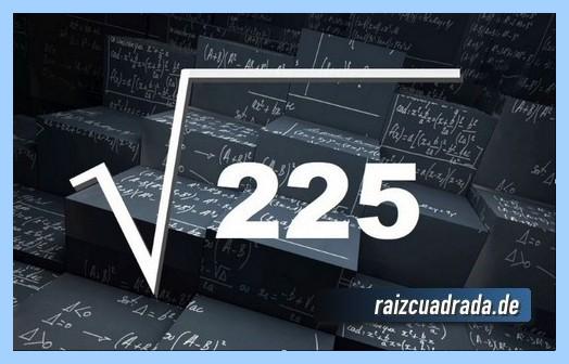 Forma de representar habitualmente la raíz cuadrada del número 225