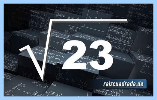 Forma de representar frecuentemente la raíz cuadrada del número 23
