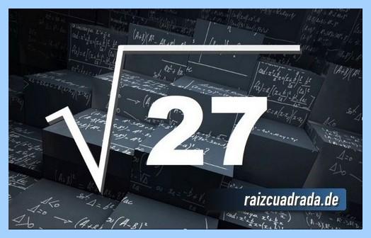 Forma de representar conmúnmente la raíz cuadrada de 27
