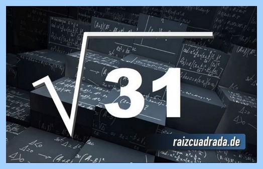 Como se representa matemáticamente la operación matemática raíz de 31