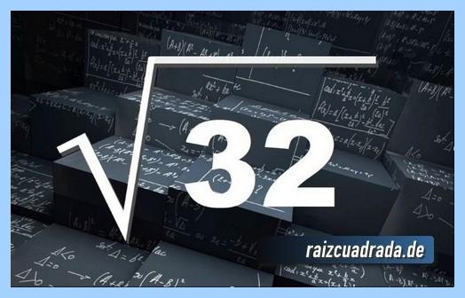 Forma de representar conmúnmente la operación raíz de 32