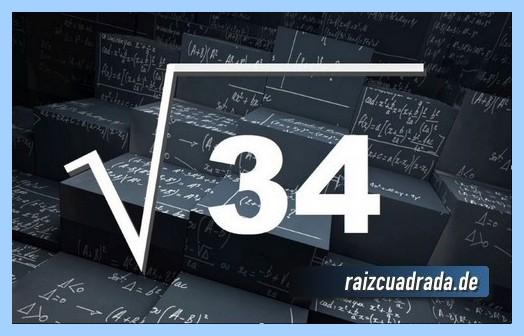 Forma de representar habitualmente la operación matemática raíz cuadrada del número 34