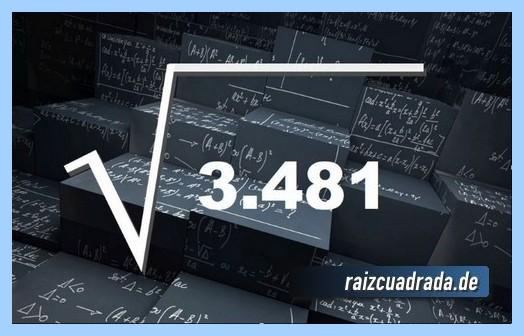 Representación matemáticamente la operación matemática raíz cuadrada del número 3481