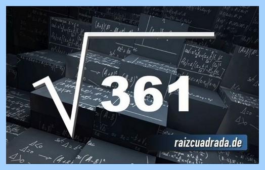 Como se representa habitualmente la operación matemática raíz de 361