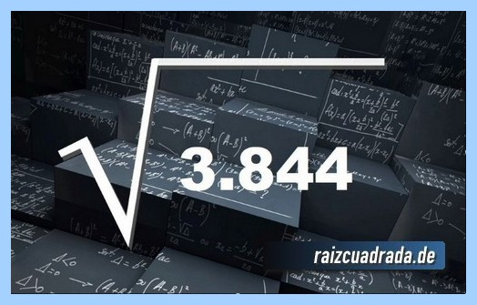 Representación matemáticamente la operación matemática raíz del número 3844